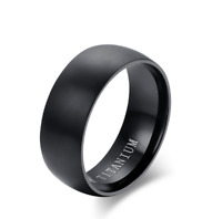 Anello Fede Fedina Fascia da 8 mm Uomo Donna Unisex Acciaio Black Coppia Regalo