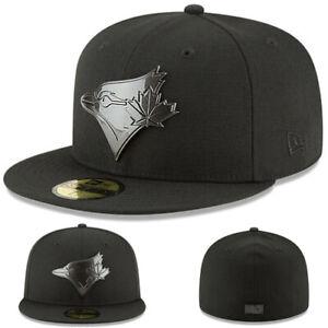 New Era Toronto Blue Jays Black Fitted Hat MLB Black Metal Team Badge Cap