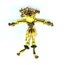 Vintage Moonbabies Moonbaby Stickpin Pin Brooch Gold Tone Peridot Green Beads
