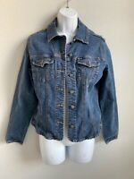 EUC Faconnable Blue Jean Button Down Jacket with Pockets 98% Cotton Size Small