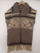 NAVAJO NATIVE BLANKET HORSES VEST LONG EXPERTLY CRAFTED JACKET KNIT WOOL COAT L