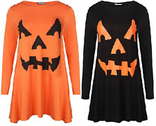 Ladies Girls Jersey Halloween Big Pumpkin Face Print Swing Dress UK Size 8-26