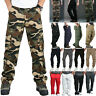 Mens Military Elastic Waist Cargo Pants Combat Army Camo Straight Leg Trousers