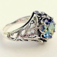 2.3ct Aquamarine Women Men Jewelry 925 Silver Wedding Engagement Ring Size 6-10