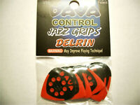 "6 Dava Control ""Jazz Grips"" Delrin Picks Plektren rot Hang Bag"