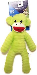 "Vibrant Life Cozy Buddy GREEN SOCK MONKEY Squeaky Dog Toy Plush 9"" Chew Level 3"