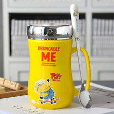 Cute Yellow Minions Despicable Me Coffee mugs with lid&spoon Ceramic 17oz Gifts