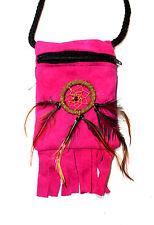 Indianer Medizinbeutel Umhängebeutel Leder ROSA Dreamcatcher Federn 8 x 10,5 cm.