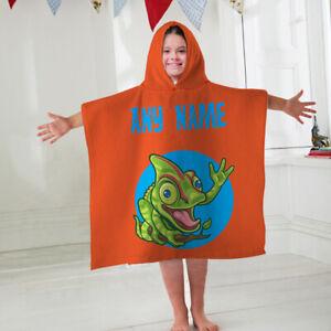 Kids Personalised Hooded Towel Poncho Orange Chameleon Childrens Bathrobe Swim