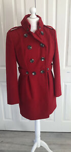 Women's Next Coat Size 14 Pillarbox Red Double Breasted Coat Winter Christmas