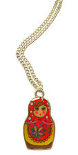 "Russian Doll Necklace - 18"" Silver Plated Chain"