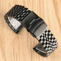 22MM Black Solid Stainless Steel Band Watch Strap Replacement Spring Bars