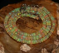 """Natural Ethiopian Welo Fire Opal Beads 3to6 mm 16""""+1.5""""Adjustable Chain Necklace"""