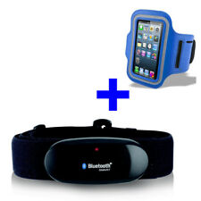 BLUETOOTH BRUSTGURT für WAHOO Blue HR App + ARMBANDTASCHE blau iPhone 5S/6/6S/7