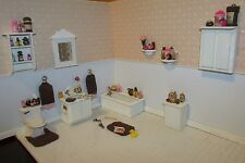 Miniature Dollhouse Brown And Pink Bath Collection-Ooak