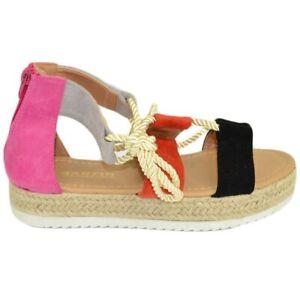 Sandalo basso donna espadrillas comode con para alta e fasce colorate multicolor