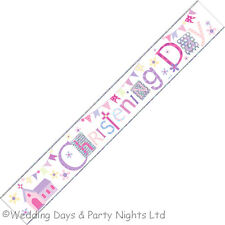 9ft Sparkly Foil Pink/Blue Christening Banner Party Decoration Church + Bunting
