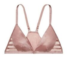 Nwt Victorias Secret Blush Strappy Satin & Mesh Plunge Front Close Bralette Bra