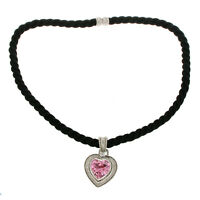 JUDITH RIPKA 925 Sterling Silver Pink Quartz & CZ with Black Cord  Necklace »B1