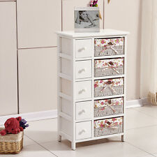 BN White Bedside Table Cabinet with 5 Chest of Drawers & 5 Wicker Storage Basket