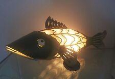 Cat Fish Night Light Lamp Metal & Glass