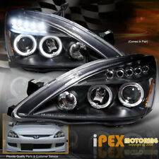 For 03-07 Honda Accord 2Dr Coupe/4Dr Sedan Halo Projector LED Headlights Black