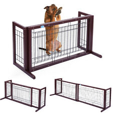 Pet Fence Gate Free Standing Adjustable Dog Gate Indoor Wood Construction