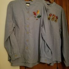 Bon Worth XL Long Sleeve Embroidered Lady's Shirts 2