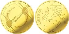 "Lithuania 5 euro 2018 ""Lithuanian science - Space, satellites"" AU Gold PROOF"
