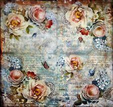 Servilleta de Papel de arroz para Decoupage Vintage Rosas Mariposas 50x50 cm DFT320