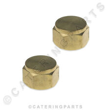 """PACK OF 2 x 1/4"""" BSP BRASS BLANKING CAP BLANK OFF PIPES TUBING GAS WATER TAPS"""