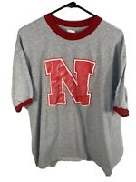 Mens University Of Nebraska Cornhuskers T Shirt | Size XL | Gray & Red NCAA Tee