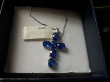 """STERLING 925 18"""" Chain w/ Lab Created BLUE SAPPHIRE Cross (approx 4.5carats)-NIP"""