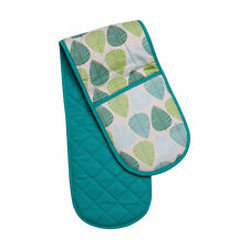 Amazing Double Oven Glove 100% Cotton Insulated Home Kitchen Green Leaf Design