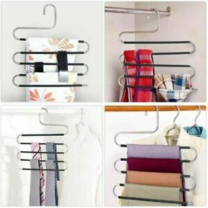 Pants-Hangers Non-Slip-Updated S-Shaped 5-Layers Hangers-Closet Space Saver-1PC
