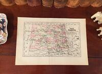 Original 1892 Antique Map NORTH DAKOTA Bismarck Grand Forks Hope Minot