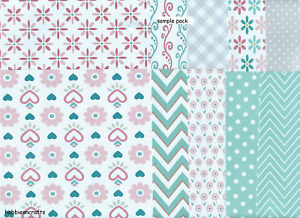 ASSORTED BACKING PAPERS 6 x 6 Sample Pack Basic Pastels 1 Sheet of Each Design