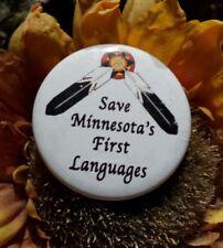 Minnesota Native American Button Tribal Language Heritage Ethnic Pride Pin