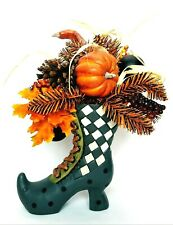 Witch Boot Fall Halloween Ceramic Table Top Decoration Orange Black