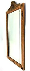 Vintage Used Wood Sanded Down Finish Decorative Wall Hanging Mirror