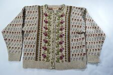 VINTAGE WOOLRICH TAN Floral Embroidered Wool Cardigan Sweater - Size M MEDIUM