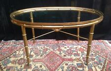 Hollywood Regency Brass Bamboo & Glass Oval Coffee or End Table by Mastercraft