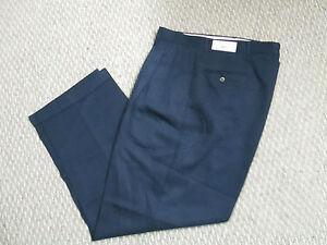 Mens Pants Unique Navy Dress Cuffed pleat Trousers 34 36 38  X 32 NEW