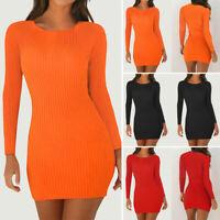 Women Autumn Causal Shirt Mini Dress Long Sleeve Slim Fit Pencil Party Sundress