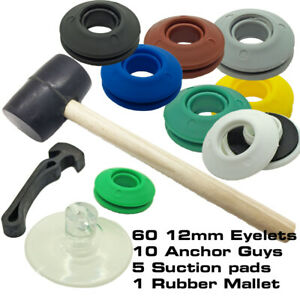 60 Plastic Snap Eyelets Washer Sealed 12mm Starter Pk with Mallet & Accessories