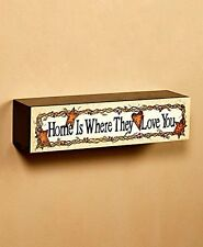 "Wall Shelf Painted Artwork ""HOME IS WHERE THEY LOVE YOU"" Wall Art Wooden Box"