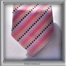 100% Silk Pink Jacquard Handmade Groom Formal Business NeckTie Stripes Cubes