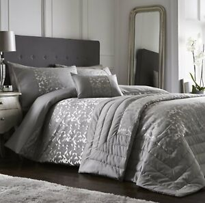 LUCIEN SILVER LUXURY QUILTED BEDSPREAD THROW OVER 200cm x 230cm POLYESTER