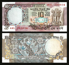 INDIA 10 RUPEES 1970-1990  UNC P-81g SIGN 85 W/H LETTER C , DEER, PEACOCK ,HORSE