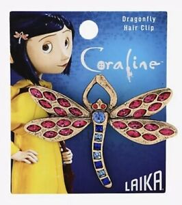 Coraline Dragonfly Sparkly CZ Gems Burnished Gold Tone Replica Hair Clip